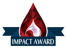 blood drop with IMPACT Award written on top of blue banner