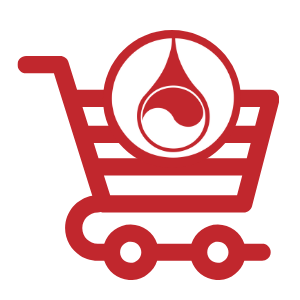 icon of a shopping cart with blood drop logo on top